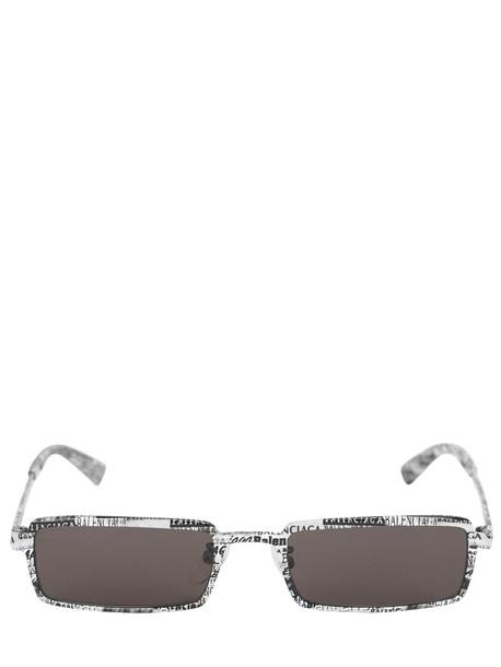 BALENCIAGA Graphic Rectangle Metal Sunglasses in black / white