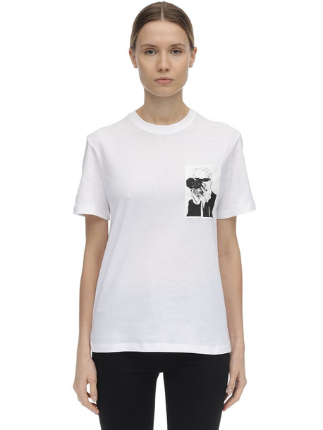 KARL LAGERFELD Printed Cotton Jersey T-shirt in white