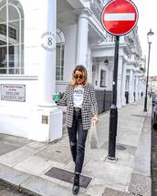 jacket,blazer,black and white,patent boots,ankle boots,black boots,black jeans,gucci belt,high waisted jeans,ripped jeans,straight jeans,handbag,white bag,white t-shirt