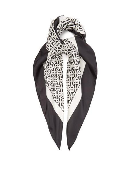 Burberry - Monogram Print Silk Scarf - Womens - Black