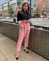 pants,high waisted pants,pink pants,slingbacks,crop tops