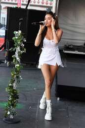top,madison beer,celebrity,all white everything,bustier,skirt