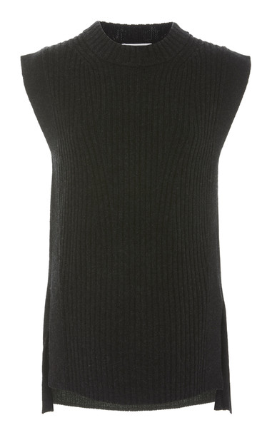 Vince Ribbed-Knit Wool And Cashmere Blend Vest Top Size: S in grey