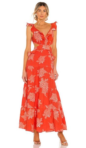 Karina Grimaldi Marigot Print Maxi Dress in Orange in coral