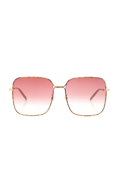 Gucci Sunglasses Light Glasant Oversized Metal Square-Frame Sunglasses in burgundy