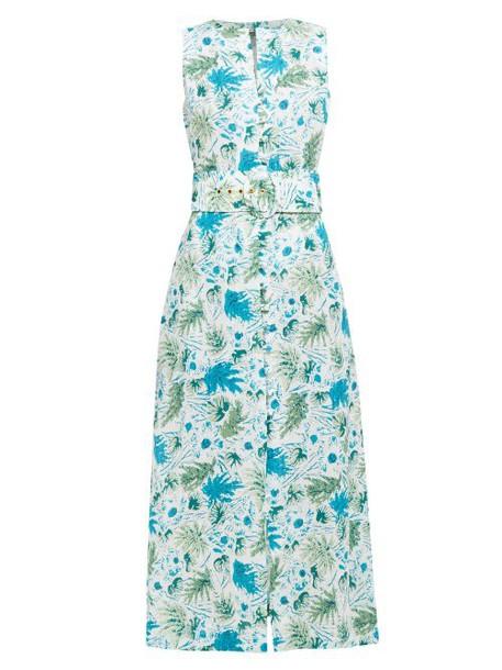 Cult Gaia - Gia Leaf Print Linen Midi Dress - Womens - Blue Print