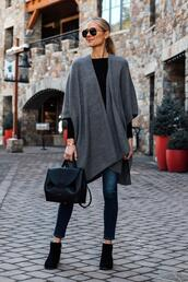 fashionjackson,blogger,shoes,jeans,sweater,dress,cardigan,black boots,ankle boots,skinny jeans,black bag,black top,knitted cardigan