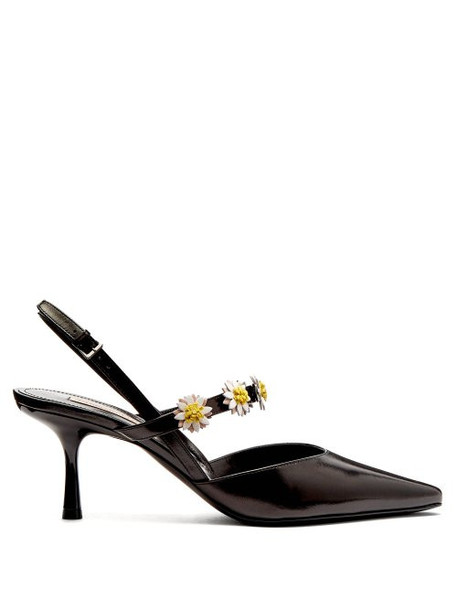 Fabrizio Viti - Bea Daisy Embellished Leather Slingback Pumps - Womens - Black White