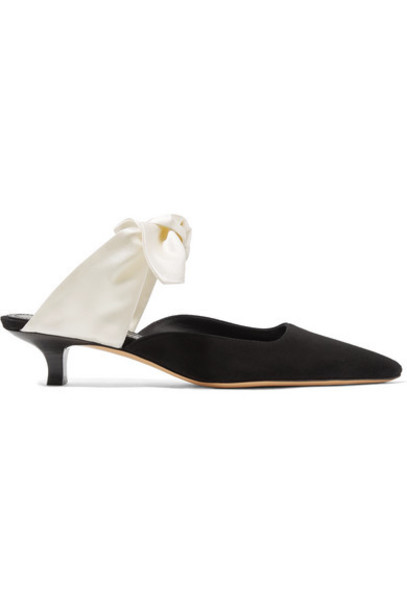 The Row - Coco Suede And Satin Mules - Black