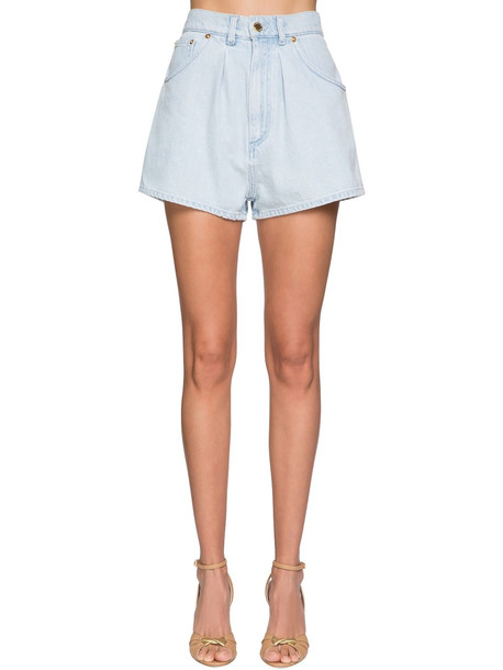 ALBERTA FERRETTI High Waist Cotton Denim Shorts in blue