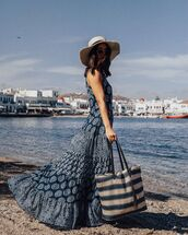 dress,blue dress,maxi dress,ruffle,sun hat