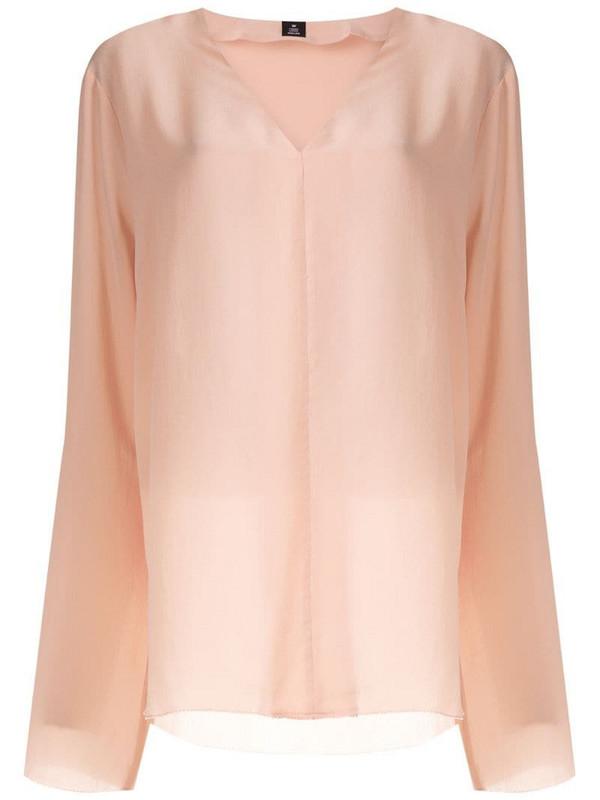 Osklen V neck silk blouse in pink