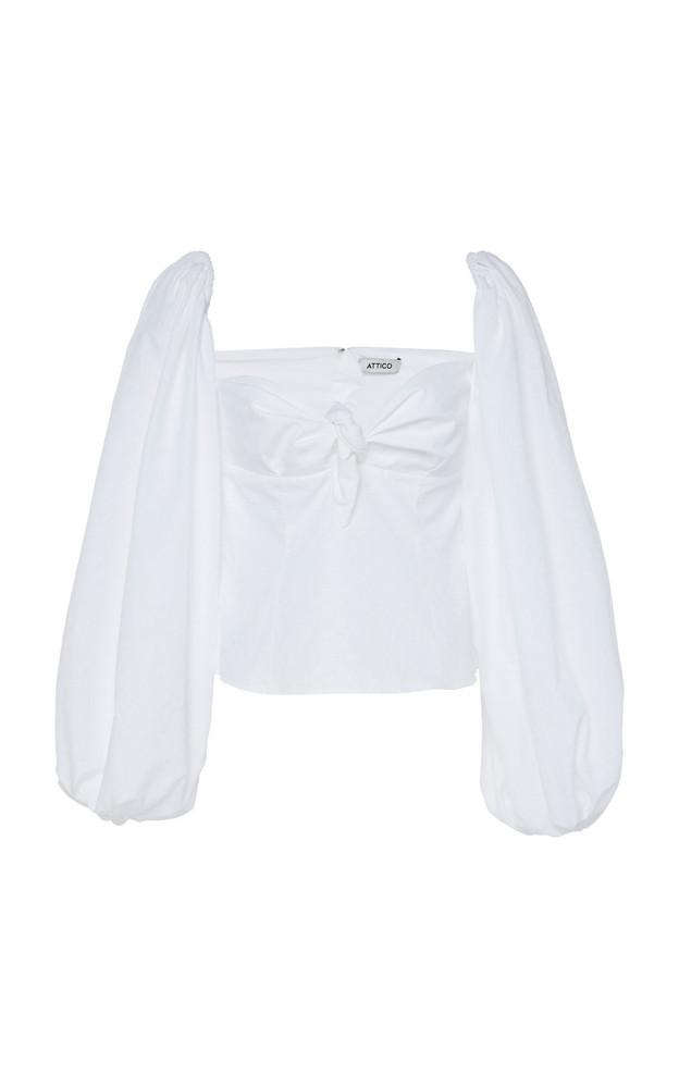Attico Cotton Jacquard Top in white