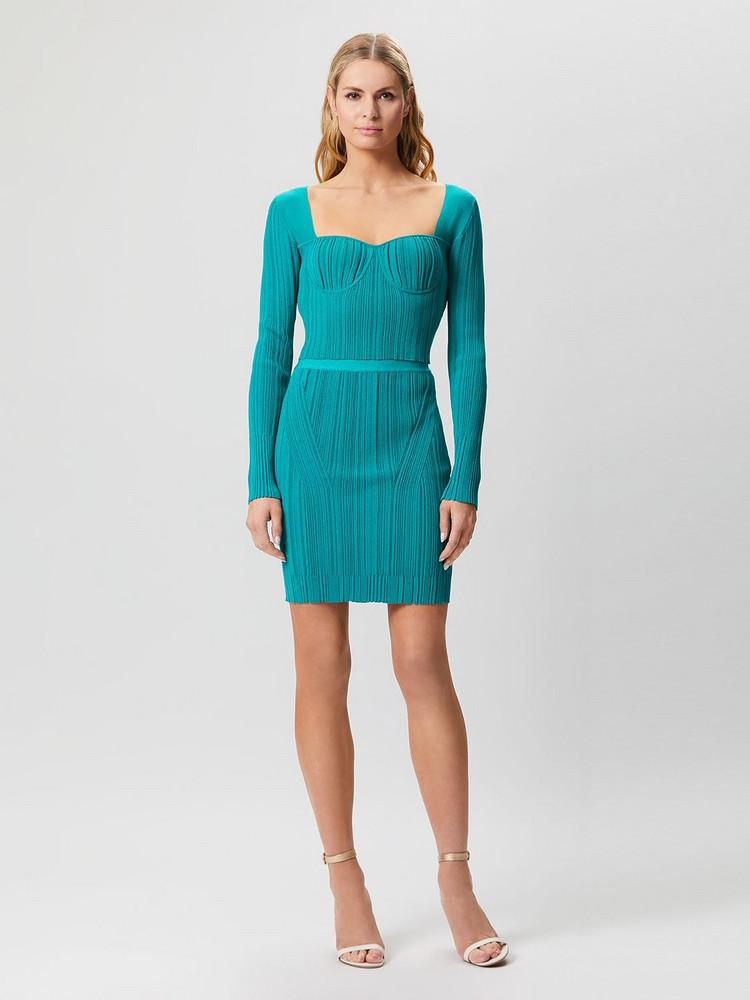 HERVÉ LÉGER Sheer Ribbed Mini Skirt in turquoise