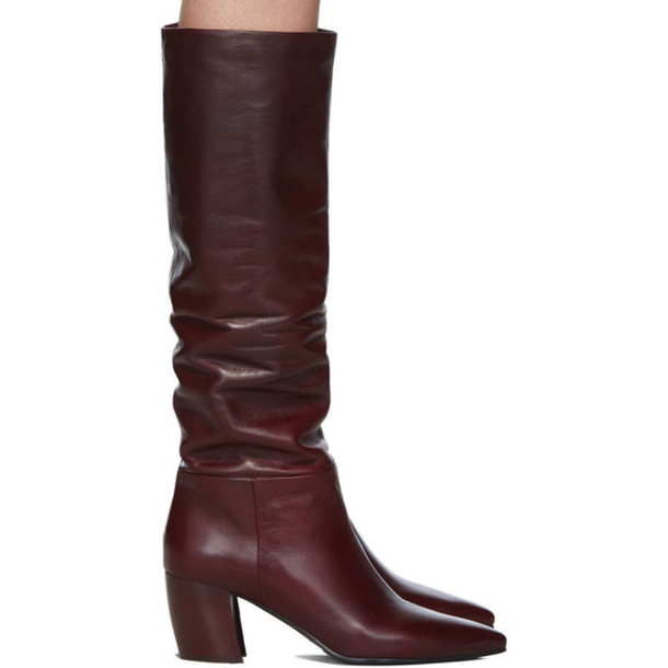Prada Burgundy Leather Tall Boots