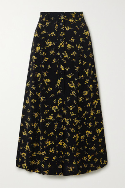 GANNI - Floral-print Crepe Skirt - Black