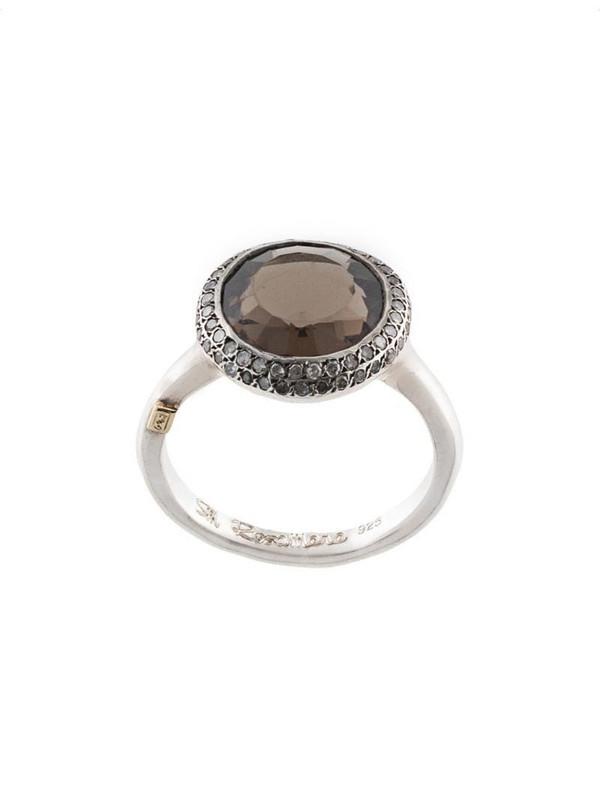 Rosa Maria Julia diamond and smoky quartz ring in silver