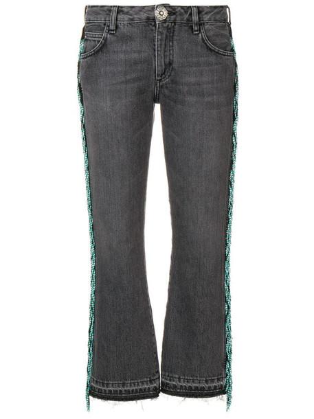 Alanui bead fringed cropped jeans in grey