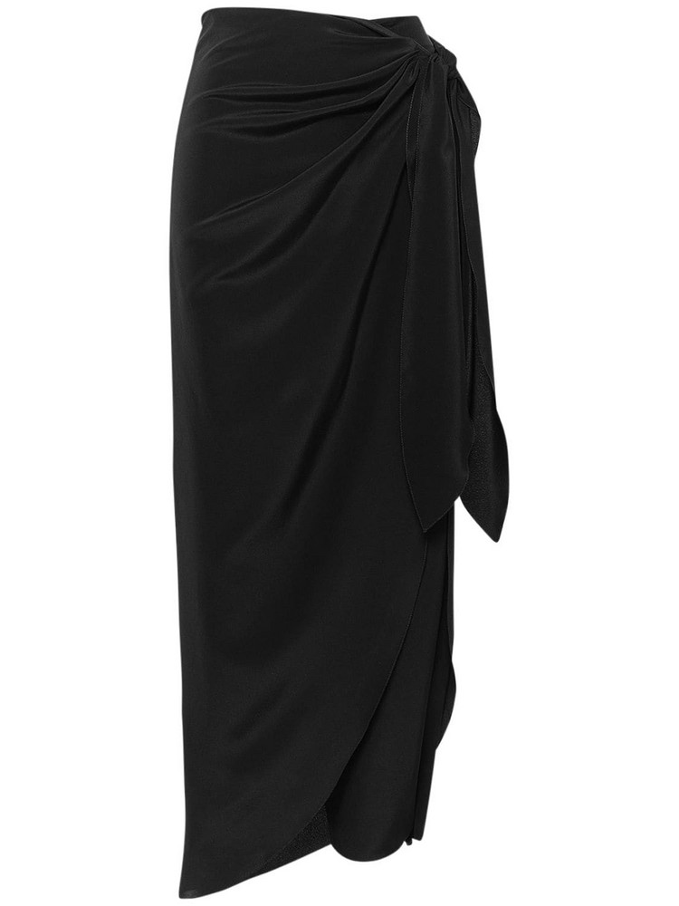 JOHANNA ORTIZ Silk Crepe De Chine Wide Leg Pants in black