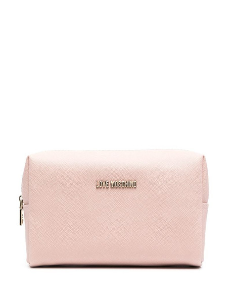 Love Moschino logo plaque make-up bag in pink