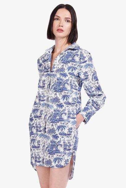 Staud CORGI DRESS | CHINA BLUE TOILE