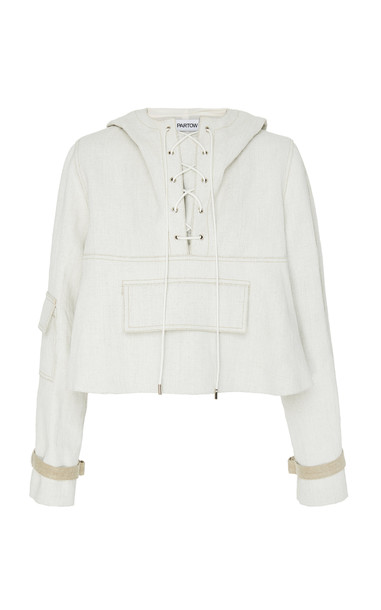 Partow Malin Laced Up Linen Hoodie in white