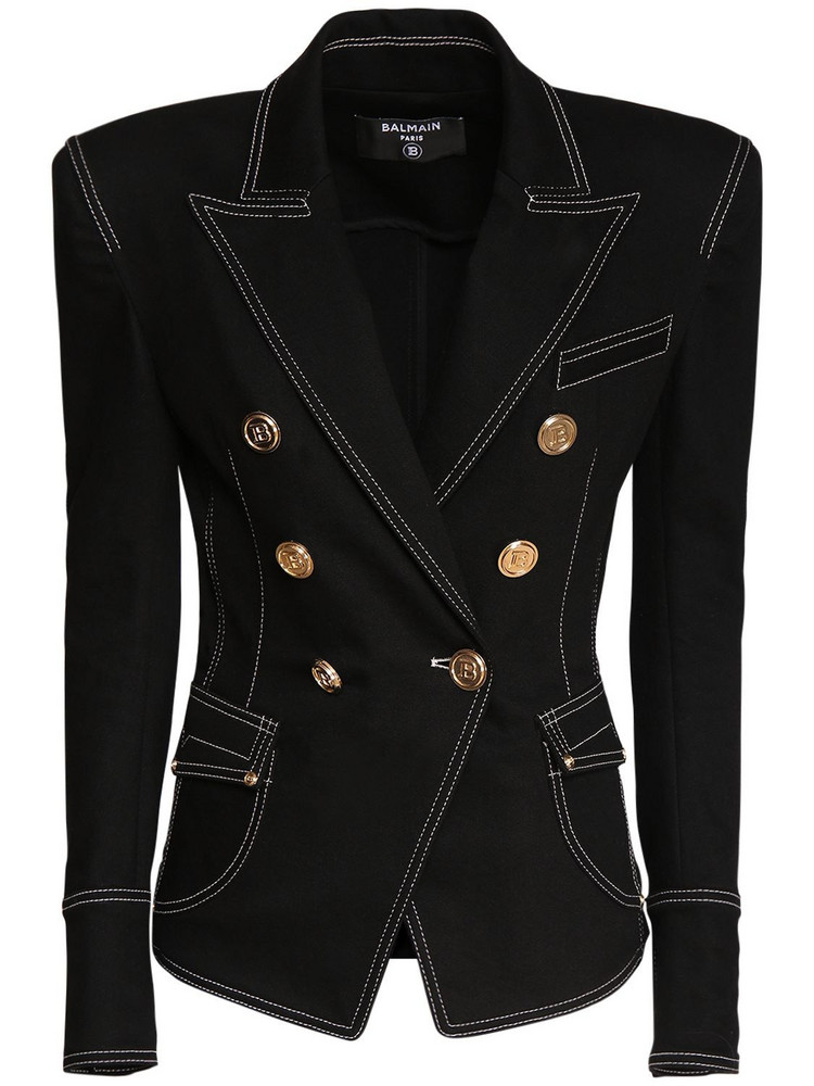 BALMAIN Topstitched Double Breasted Denim Jacket in black / gold