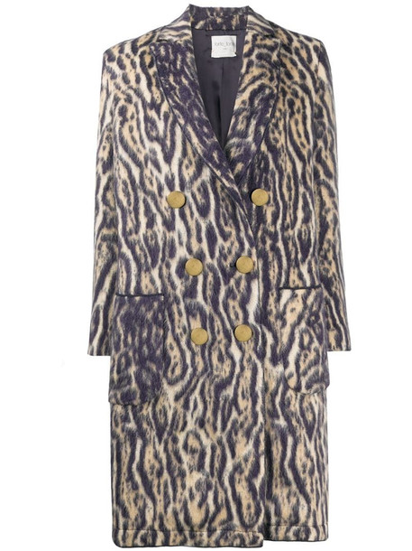 Forte Forte tiger print double-breasted coat in neutrals