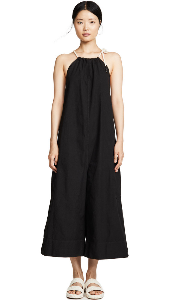 Bassike Cotton Gathered Jumpsuit in black