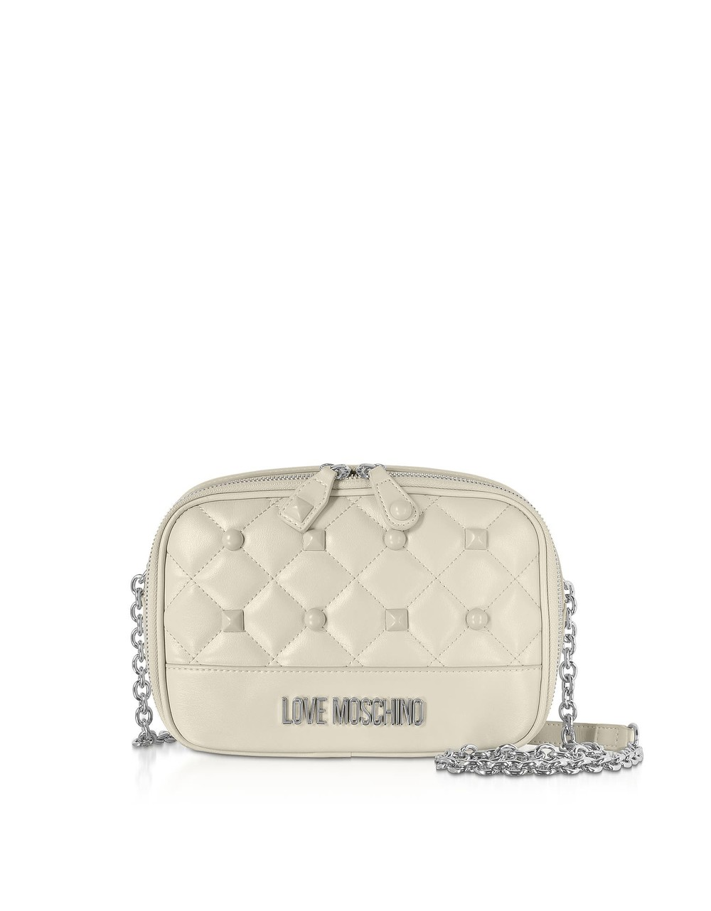 Love Moschino Quilted Eco-leather Crossbody Bag W/ Studs in ivory