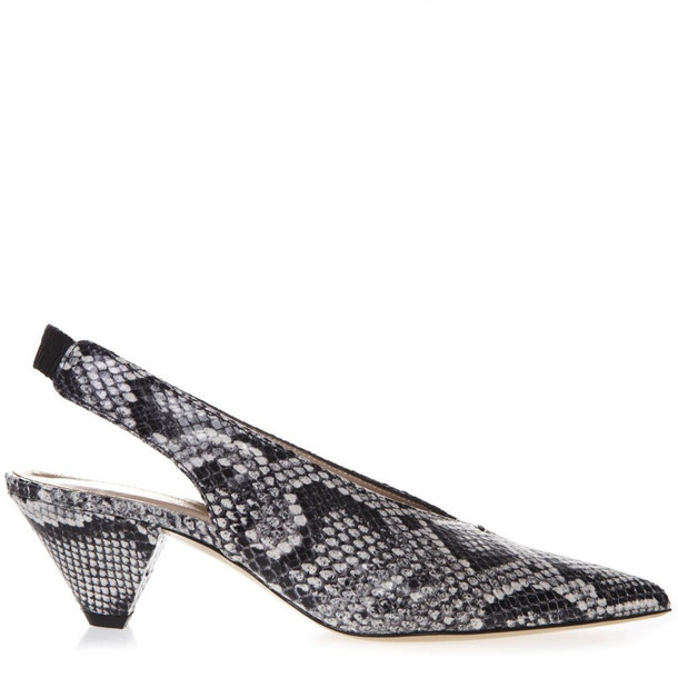 Aldo Castagna Gray Snake Printed Leather Slingback