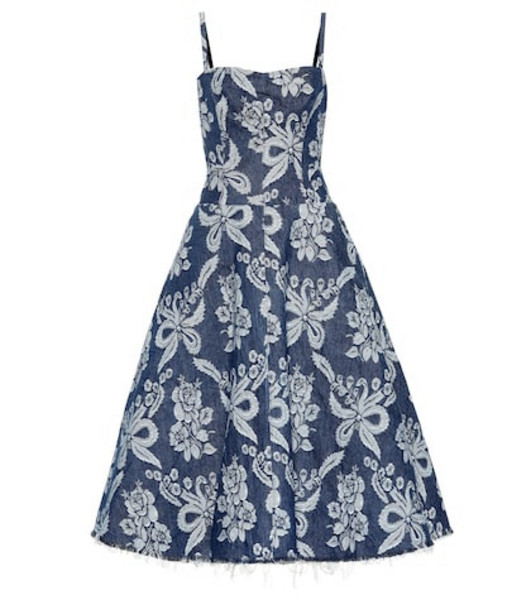 Junya Watanabe Floral-embroidered denim dress in blue