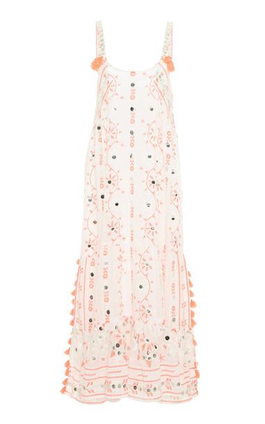 Juliet Dunn Tassel Cotton Midi Dress in white