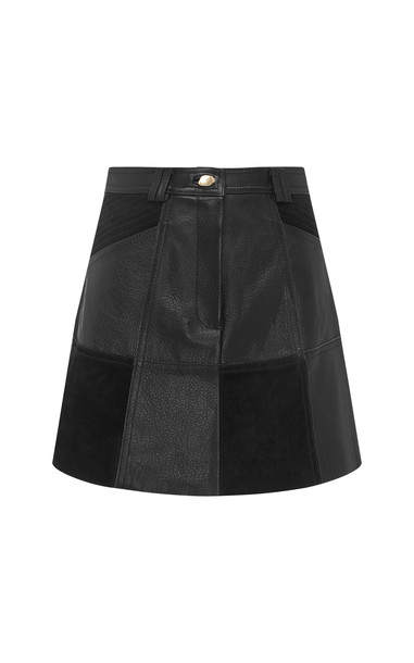 Aje Motocyclette Leather Patch Mini Skirt in black