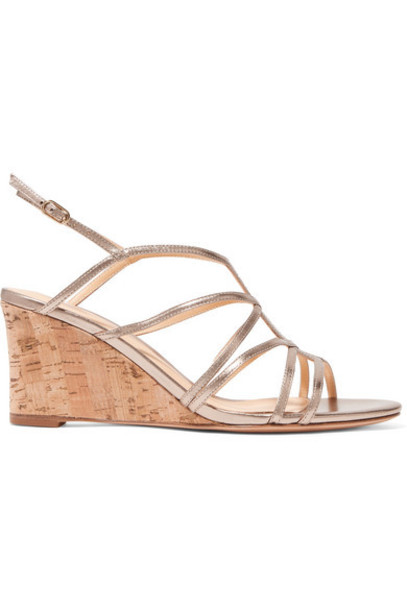 Alexandre Birman - Paolla Metallic Leather Wedge Sandals - Gold
