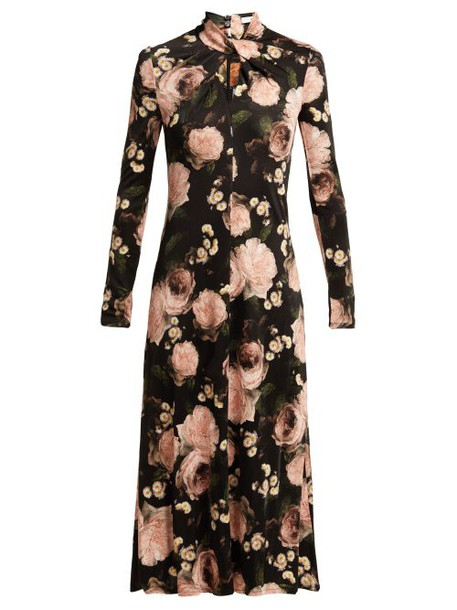 Erdem - Nolene Dutch Petal Print Jersey Midi Dress - Womens - Black Pink