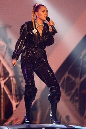 jumpsuit,vinyl,pants,top,miley cyrus,celebrity,latex,faux leather