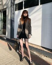 skirt,black skirt,mini skirt,isabel marant,blazer,black sandals,tights,black turtleneck top,black bag