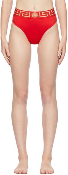 Versace Underwear Red Greca Border Bikini Bottom