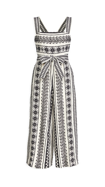 alice + olivia alice + olivia Lucie Gaucho Jumpsuit with Belt in black / natural