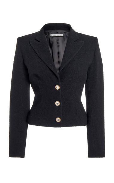 Alessandra Rich Tweed Single Breasted Jacket in black