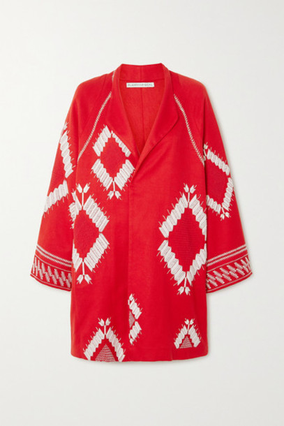 Rue Mariscal - Embroidered Cotton-voile Jacket in red