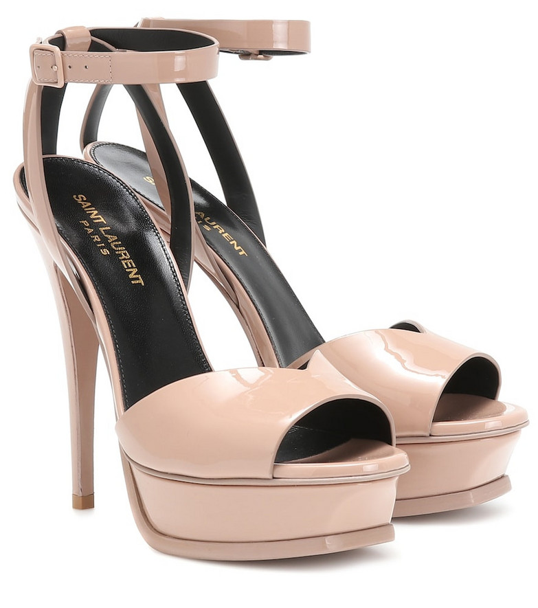 Saint Laurent Tribute Lips 105 patent leather sandals in pink