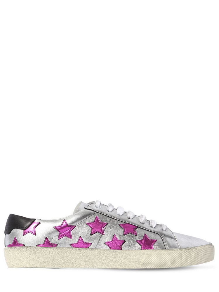 SAINT LAURENT 20mm Court Metallic Leather Sneakers in purple / silver