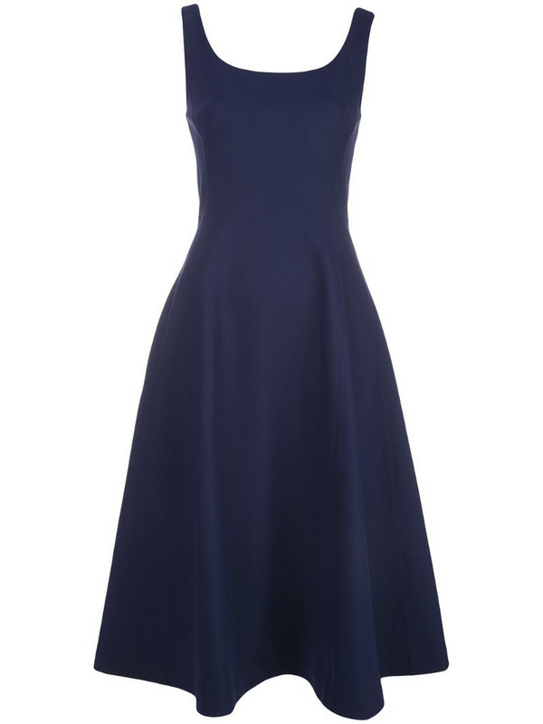 Adam Lippes scoop neck flared dress in blue