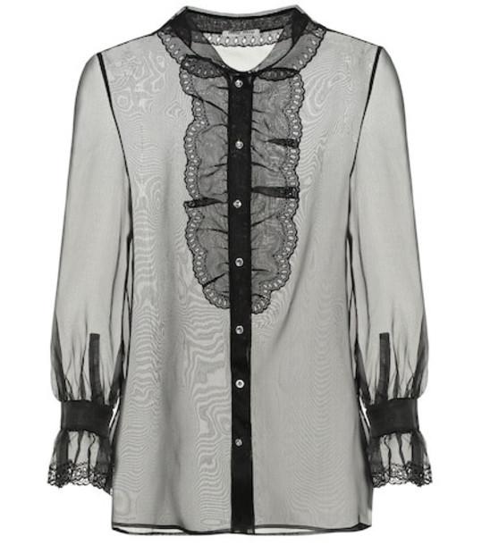 Miu Miu Embellished silk-organza blouse in black