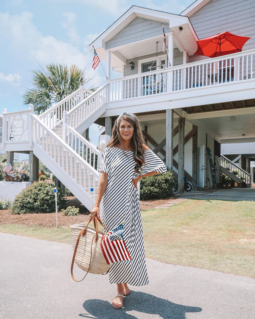 dress maxi dress striped dress slide shoes maxi bag