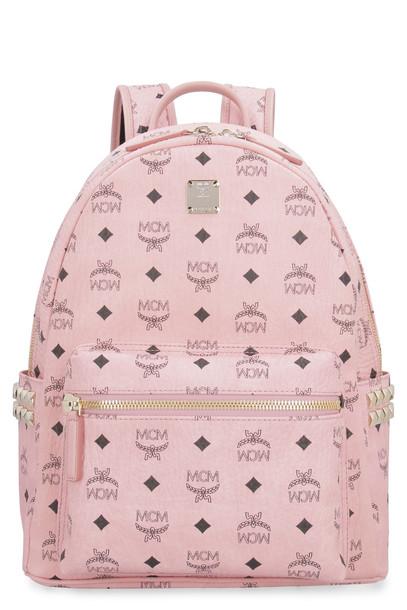 MCM Stark Side Studs Visetos Backpack in pink