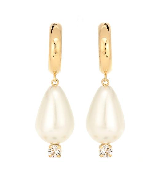 Simone Rocha Faux-pearl drop hoop earrings in white