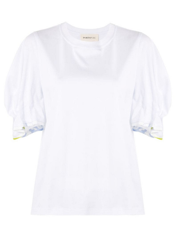 PortsPURE gathered-sleeve T-shirt in white